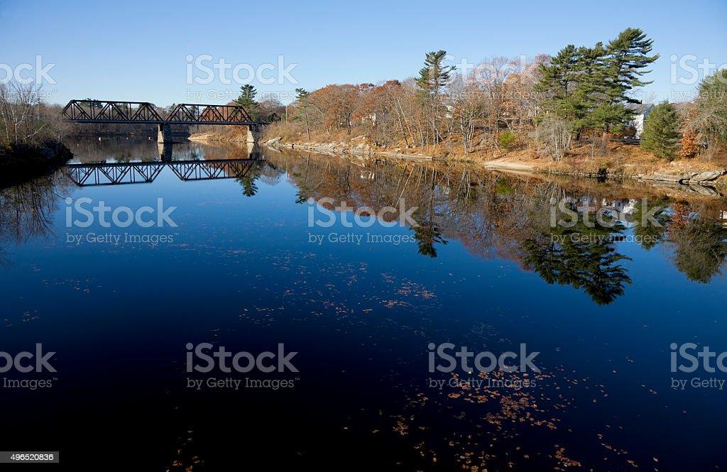Maine scenery: old bridge over Androscoggin River stock photo