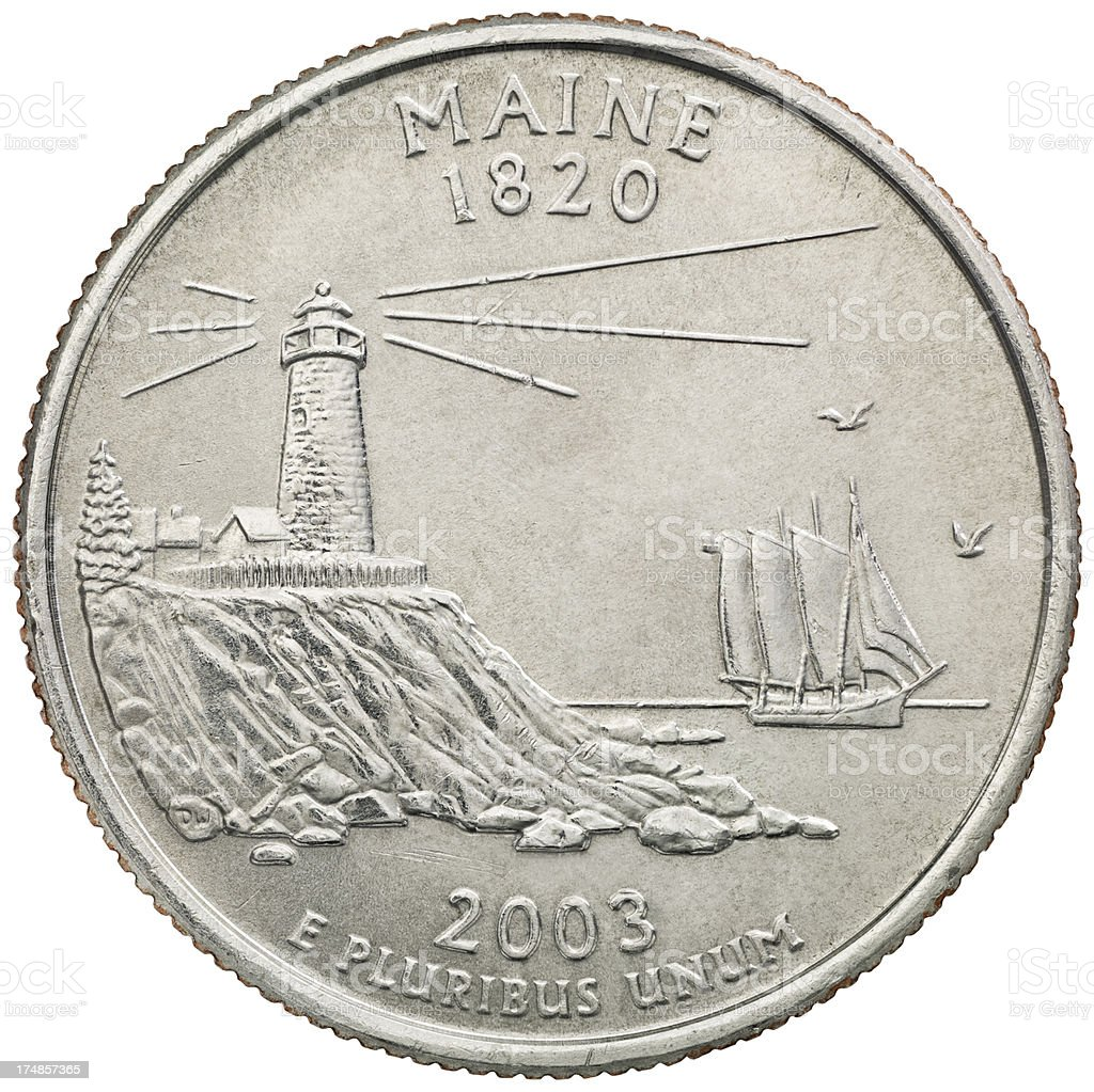 Maine State Quarter Coin royalty-free stock photo