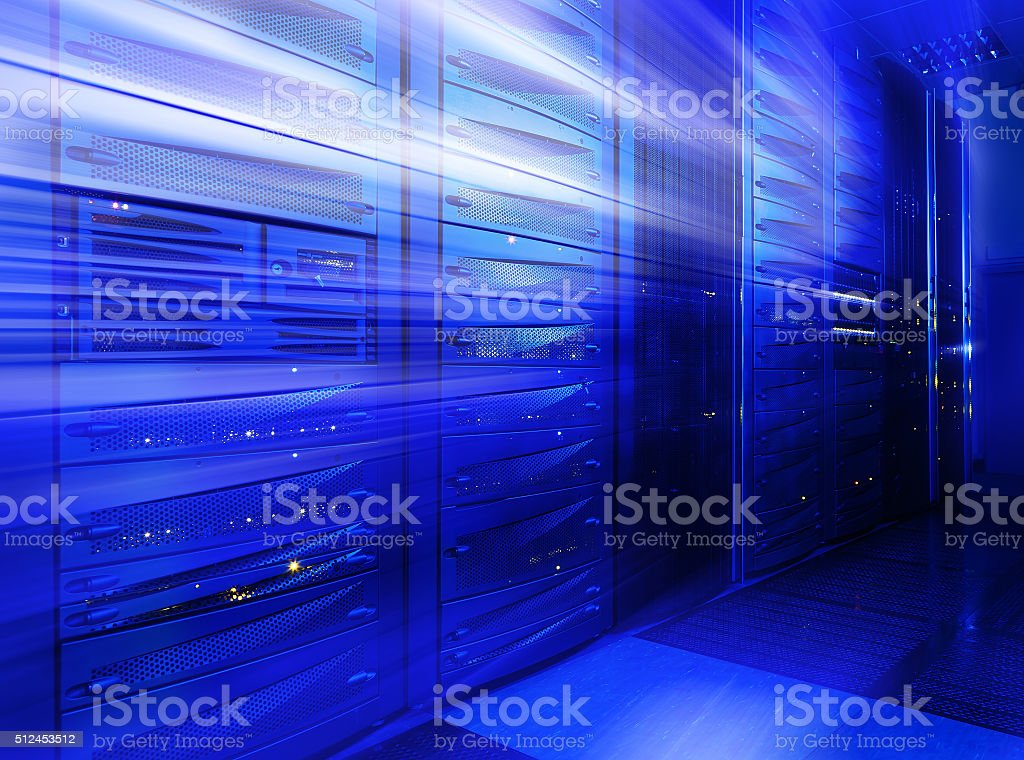 Mainframe stack in the server room blue blur stock photo