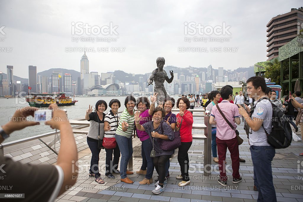 Mainland Chinese tourists in Hong Kong royalty-free stock photo