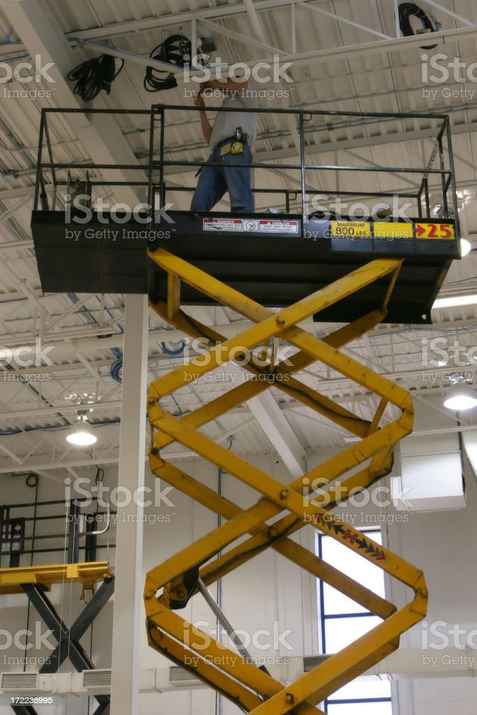 Maintenance Contractor Working on Ceiling stock photo