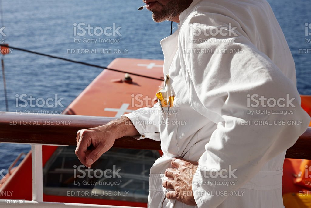 Maintenance engineer aboard ship royalty-free stock photo
