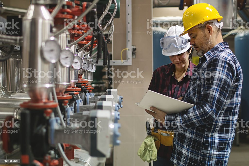 maintenance engineers stock photo