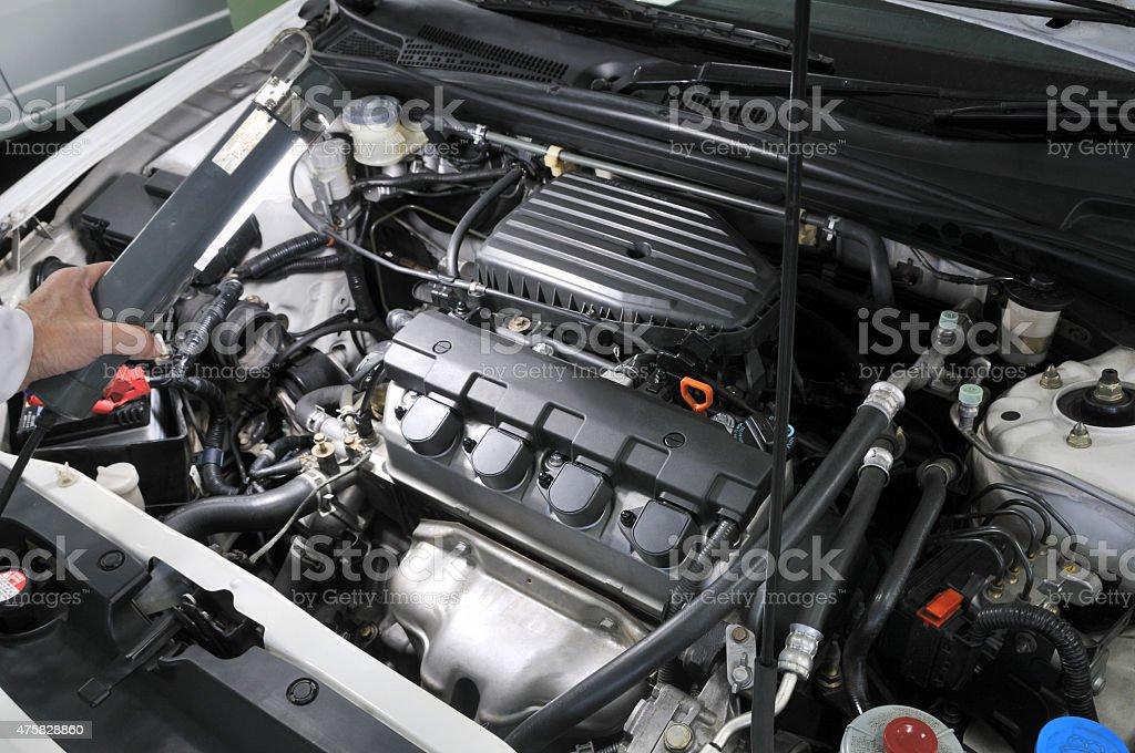 Maintenance of motor vehicles stock photo