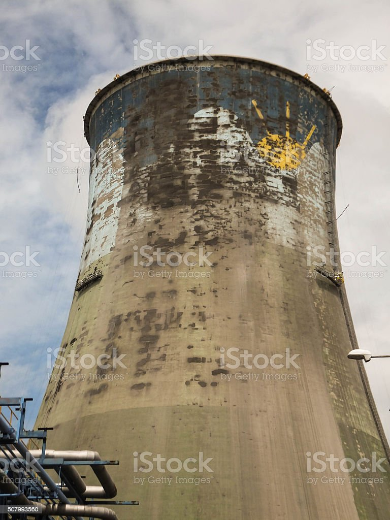 Maintenance of the concrete walls  cooling tower stock photo