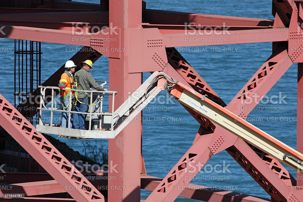 Maintenance of the Golden Gate Bridge royalty-free stock photo