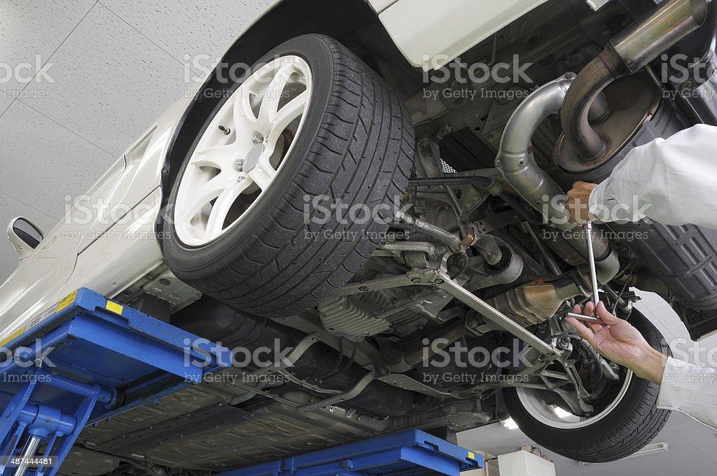 Maintenance of the sportscar stock photo