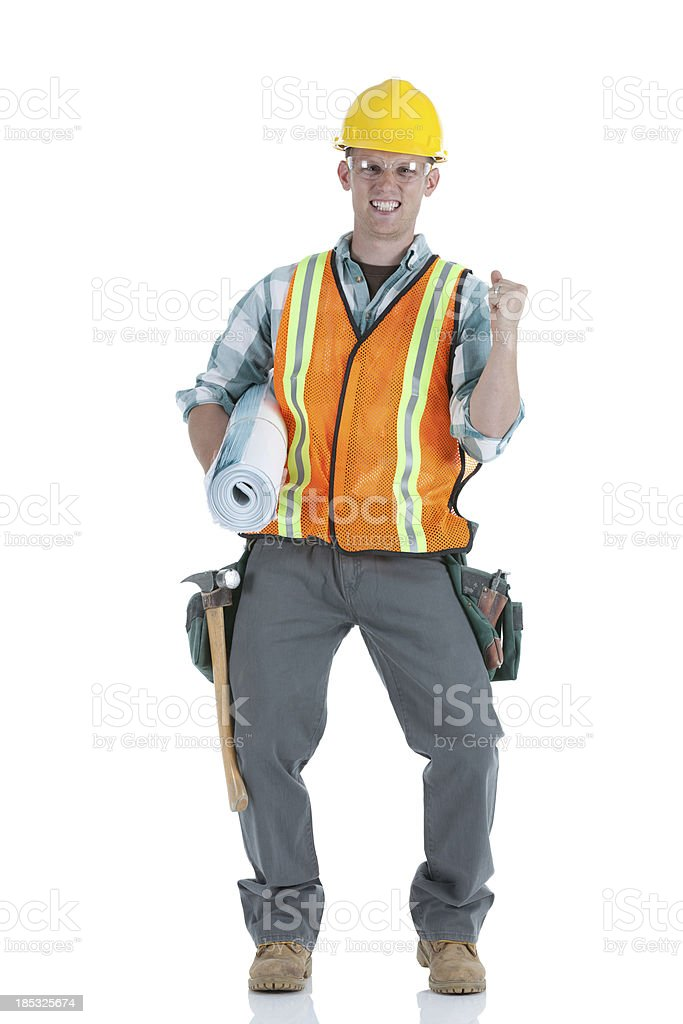 Maintenence engineer with blueprint royalty-free stock photo