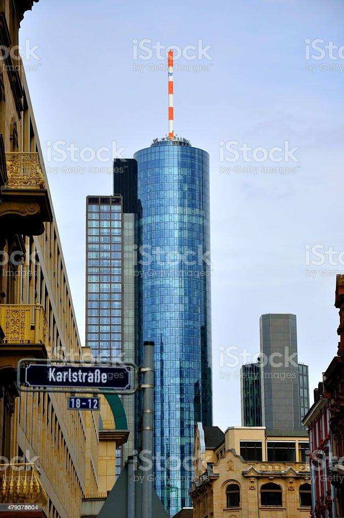 Maintower Skyscraper in Frankfurt, Hessen, Germany stock photo