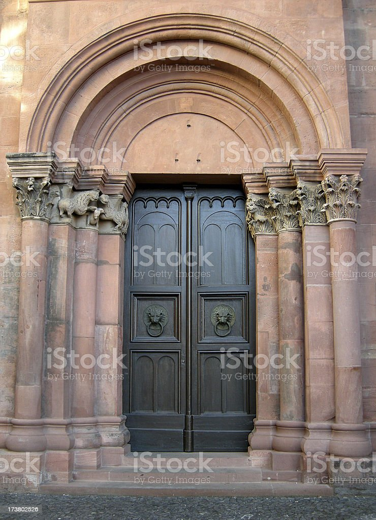 Mainzer Dom door stock photo