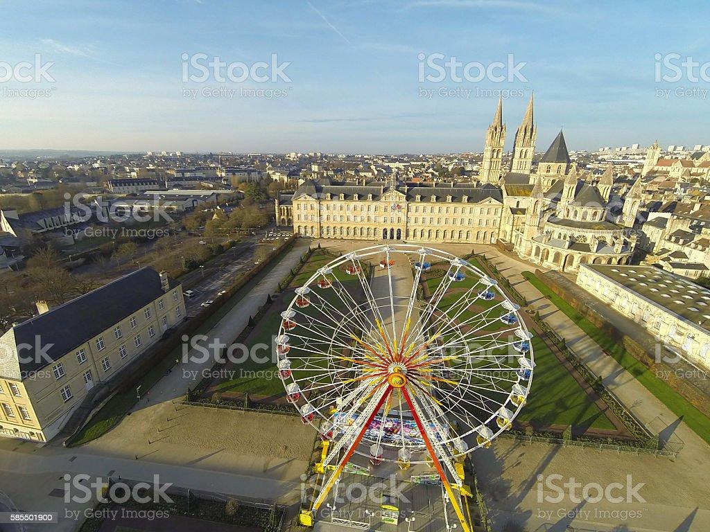 Mairie de Caen vue aérienne stock photo