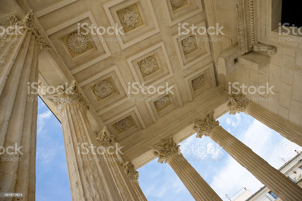 Maison Carrée or Roman Temple in Nimes, France stock photo