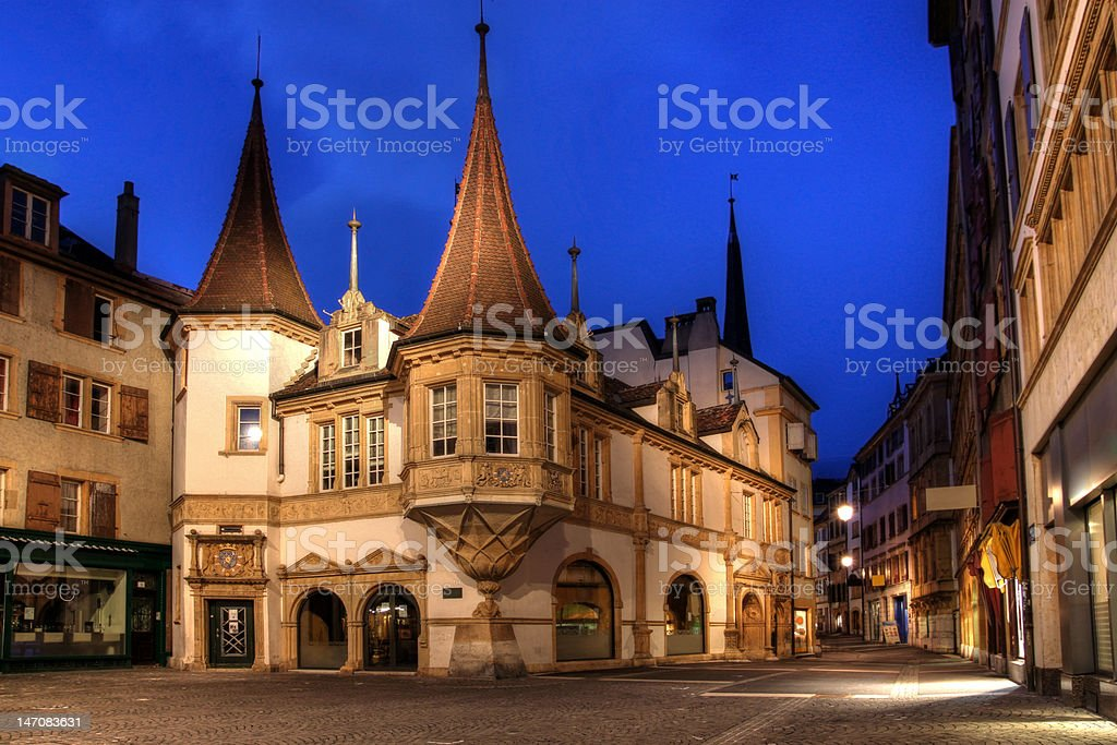 Maison des Halles, Neuchatel, Switzerland stock photo