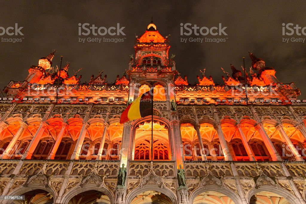 Maison du Roi at the Brussels Grand Place at night stock photo
