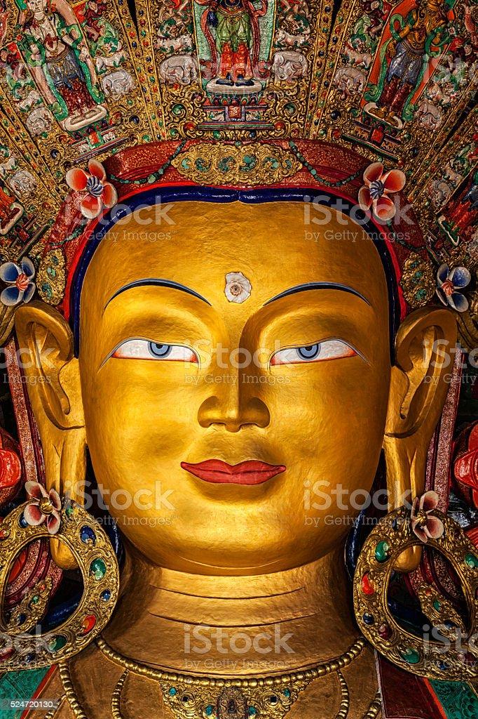 Maitreya Buddha in Thiksey Gompa stock photo