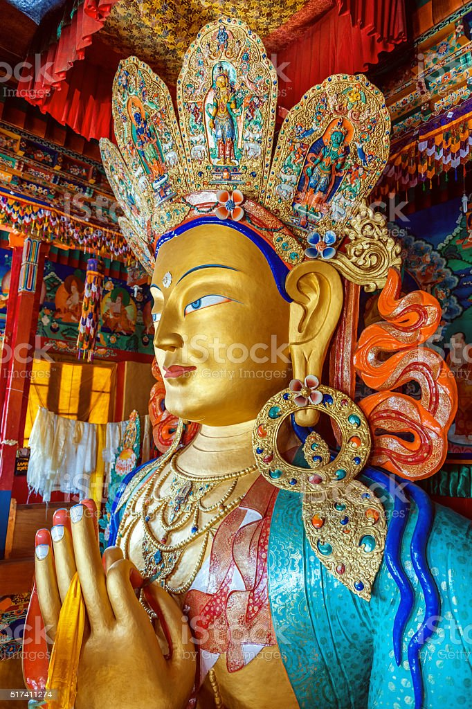 Maitreya Buddha in Thiksey monastery, Ladakh,Tibet, India stock photo