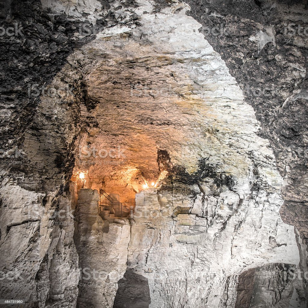 Majestic Caves of La Balme large vault with lights France stock photo