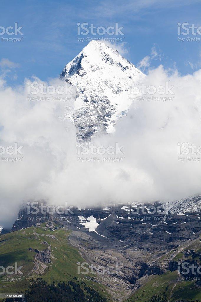 Majestic Eiger and Jungfraubahn Rack Railway, Bernese Alps, Switzerland stock photo