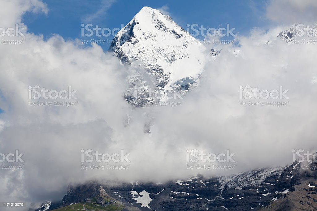 Majestic Eiger Peak and Jungfraubahn Rack Railway, Bernese Alps, Switzerland stock photo