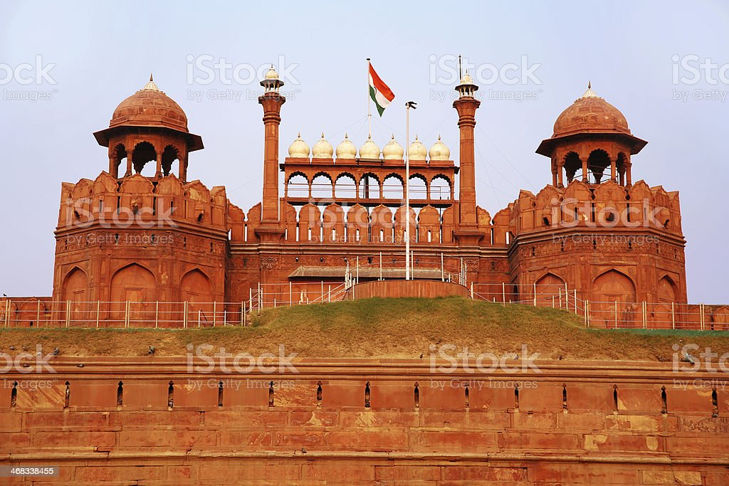 Majestic facade of Red Fort royalty-free stock photo