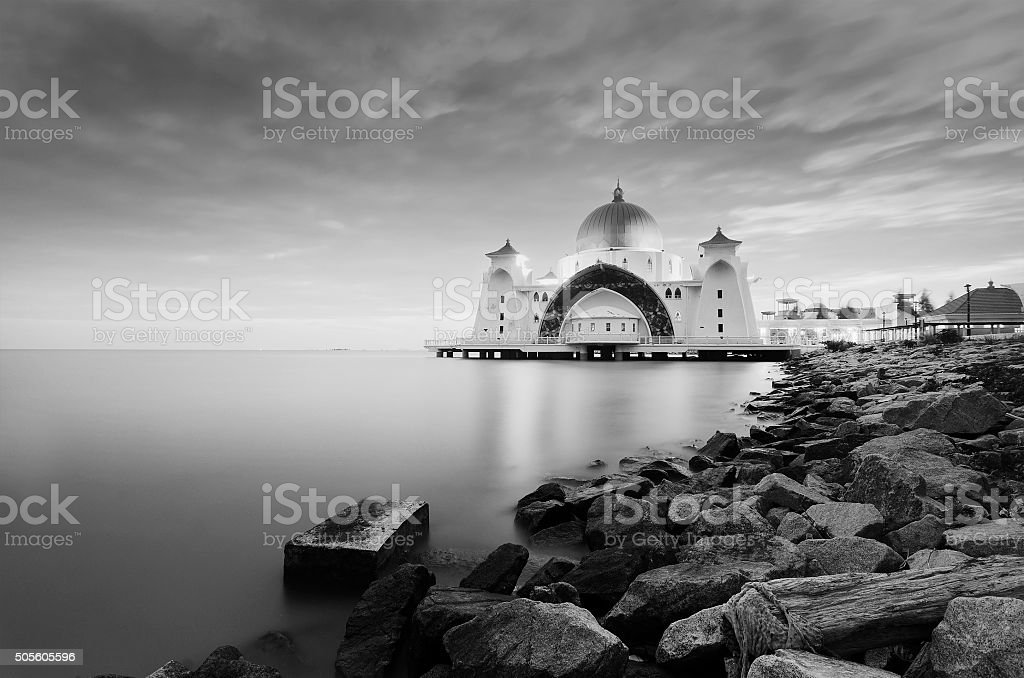 majestic floating mosque at malacca straits stock photo