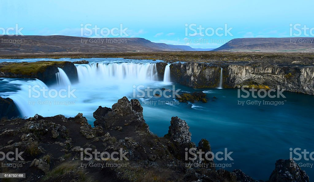 Majestic Godafoss - waterfall of the Gods - in Iceland stock photo