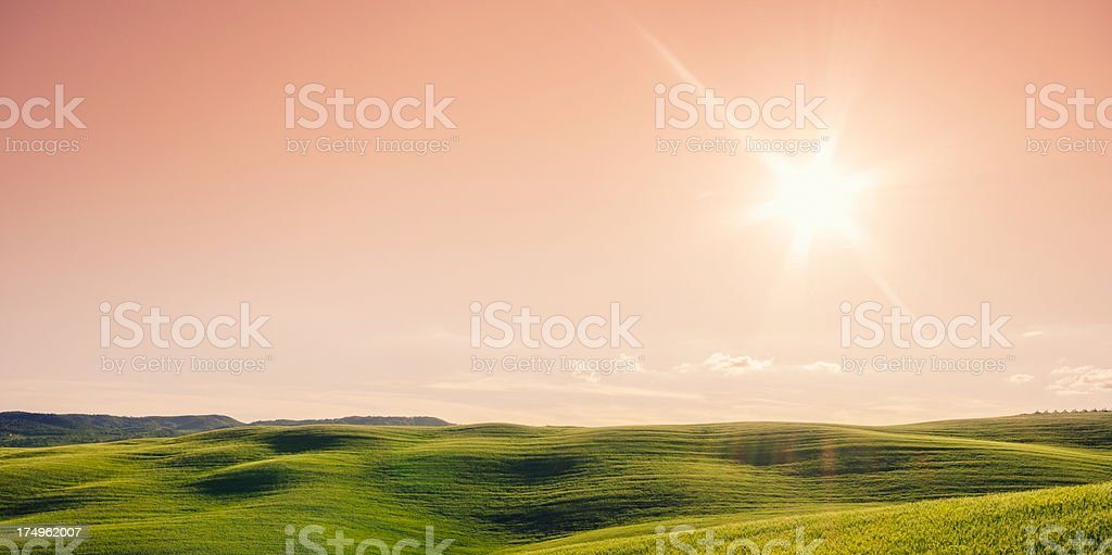 Majestic hill on Val d'orcia lanscape italy royalty-free stock photo