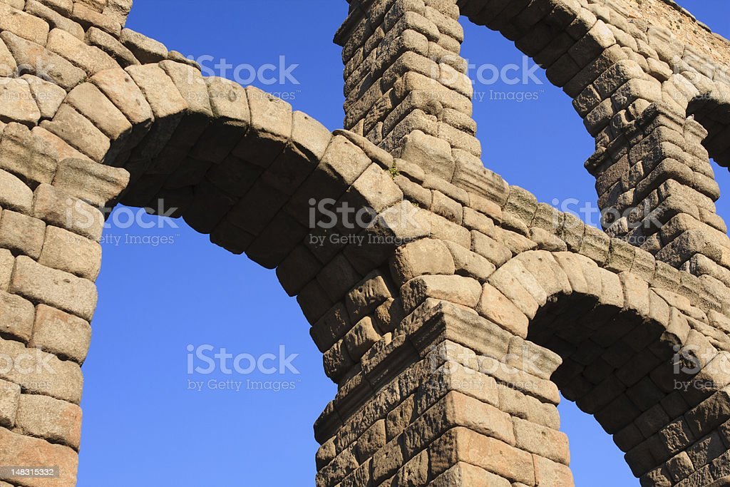 Majestic Image of the Ancient Aqueduct in Segovia Spain royalty-free stock photo