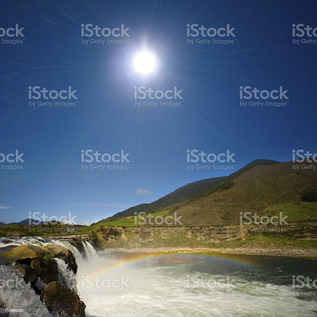 Majestic land of waterfalls stock photo