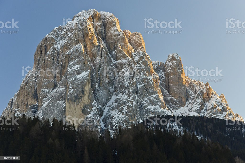 Majestic Langkofel mountain at Sunset stock photo