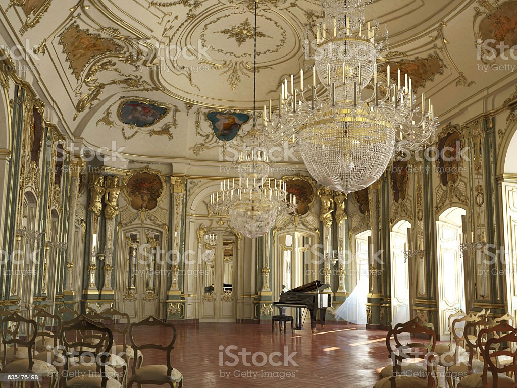 Majestic large decorated piano concert hall. stock photo