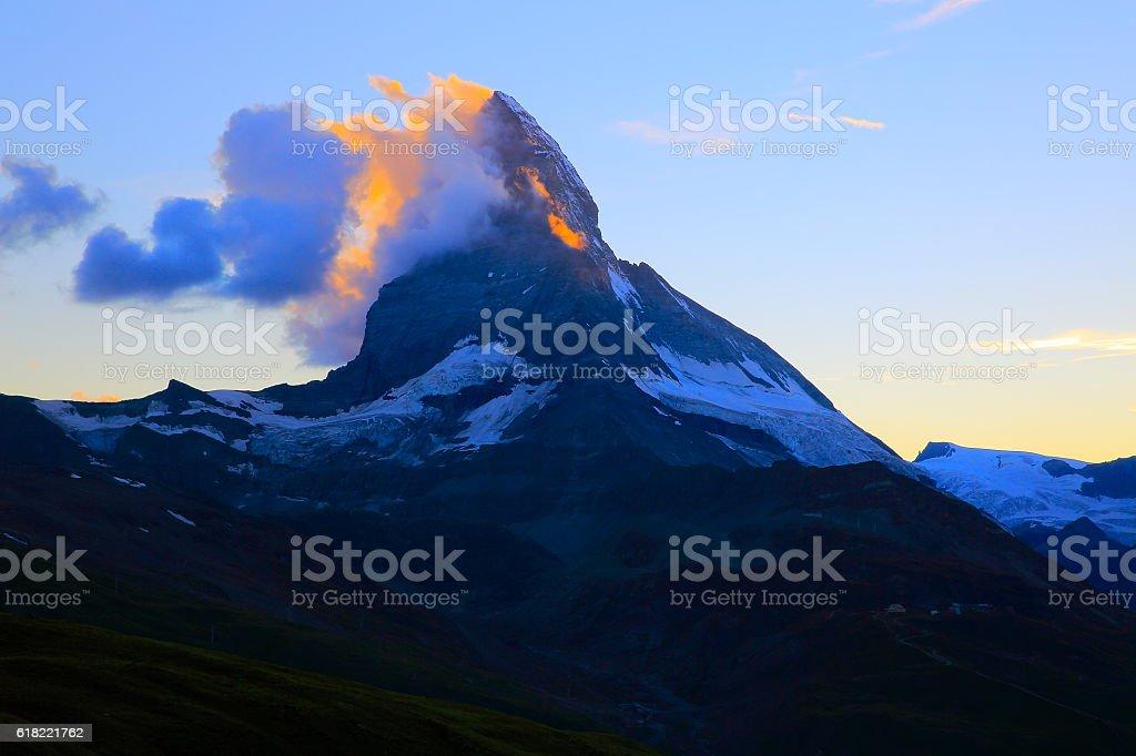 Majestic Matterhorn: Idyllic dramatic sunset landscape, Swiss Alps stock photo