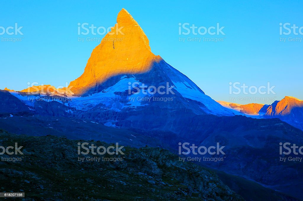 Majestic Matterhorn: Idyllic peaceful sunrise landscape, Swiss Alps stock photo