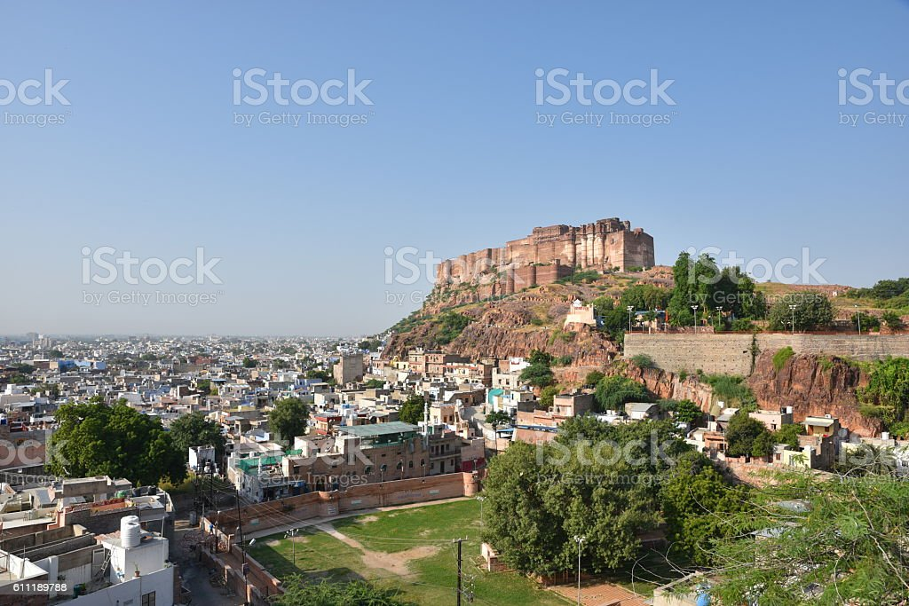 Majestic Mehrangarh Fort in Jodhpur stock photo