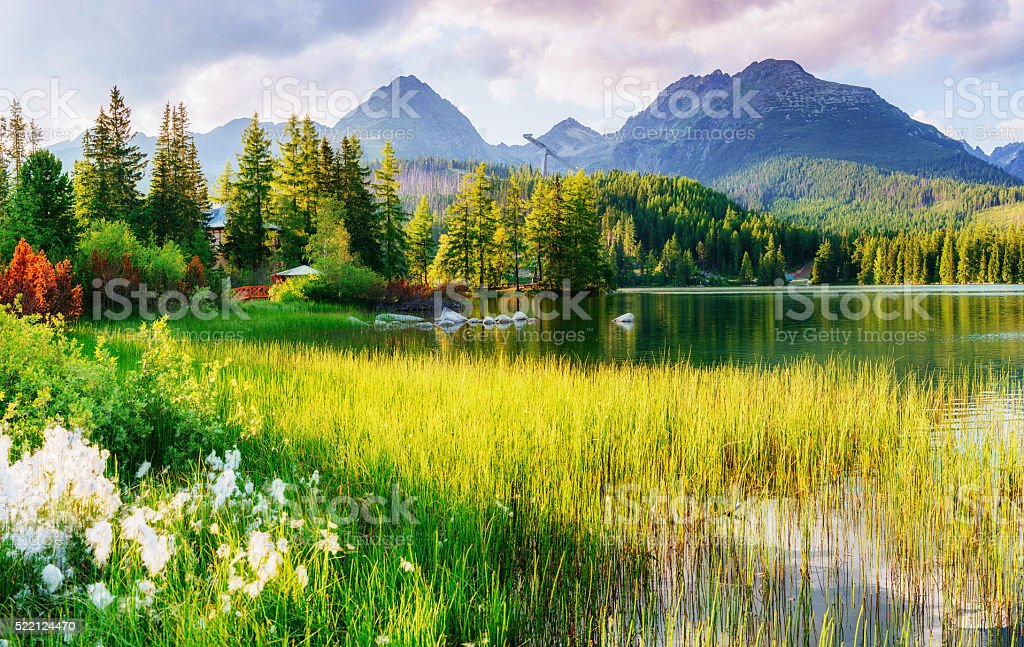Majestic mountain lake in National Park High Tatra. stock photo