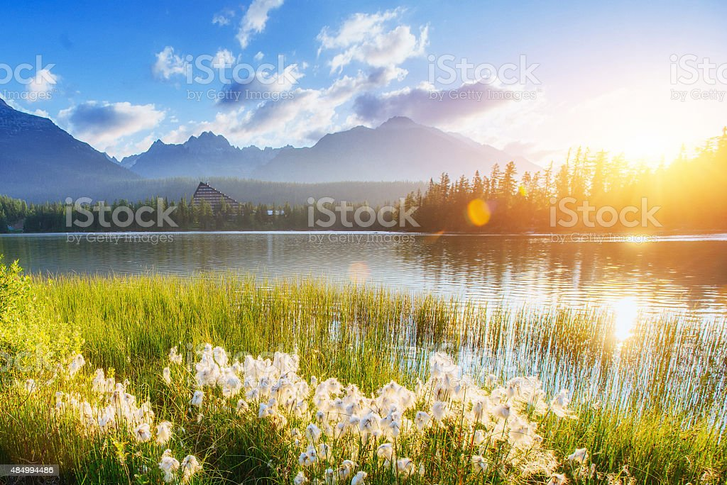 Majestic mountain lake in National Park High Tatra. Strbske ples stock photo