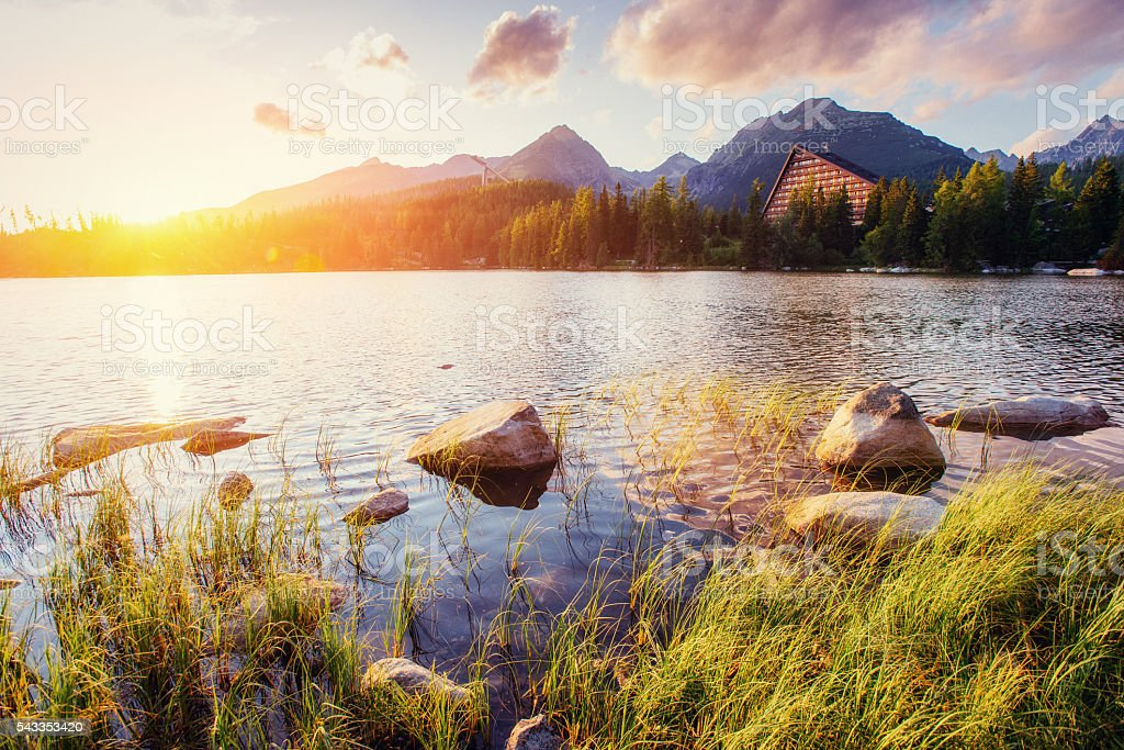 Majestic mountain lake in National Park High Tatra. Strbske pleso, stock photo