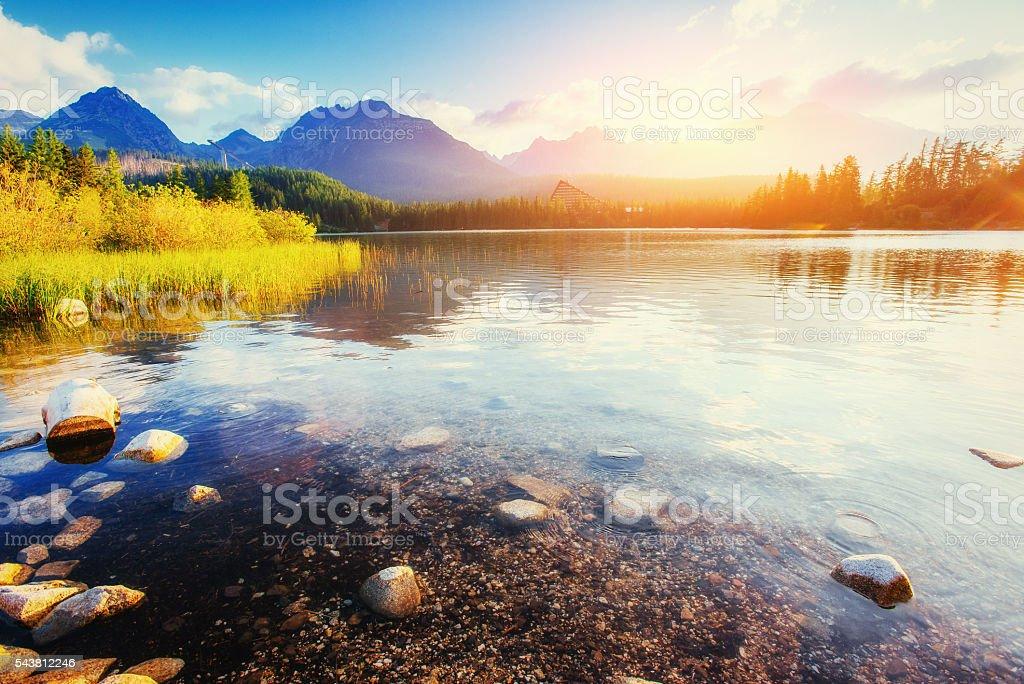 Majestic mountain lake in National Park High Tatra. Strbske pleso. stock photo