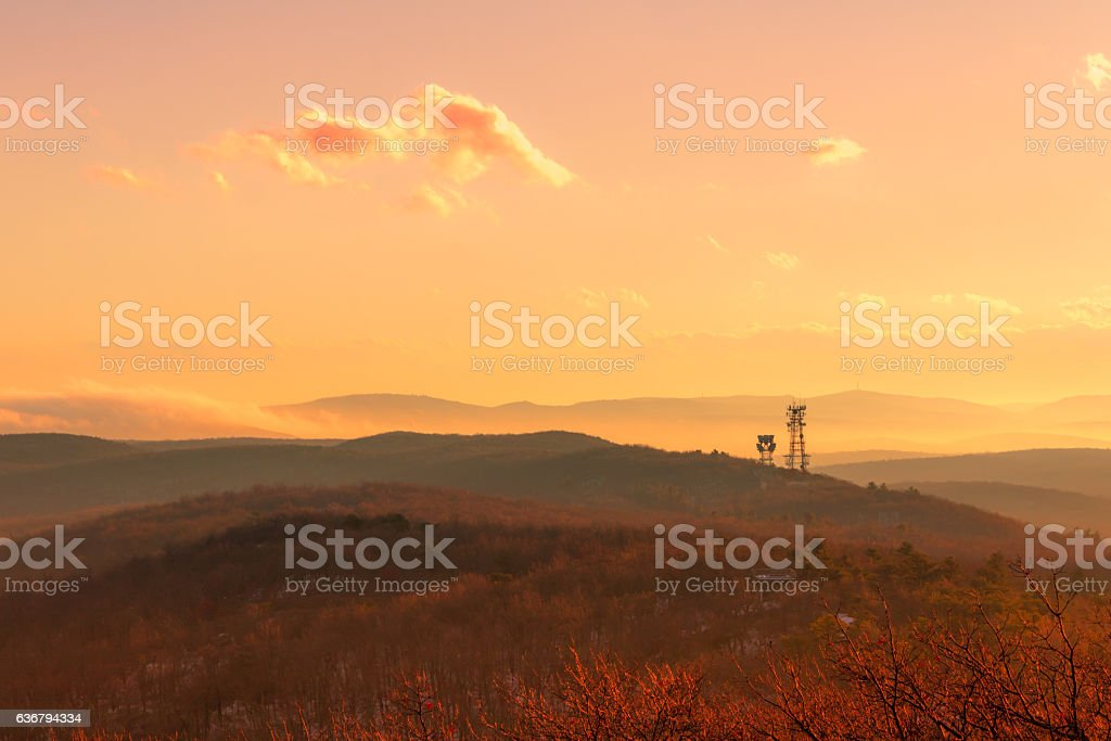 Majestic mountain view at dusk in winter stock photo