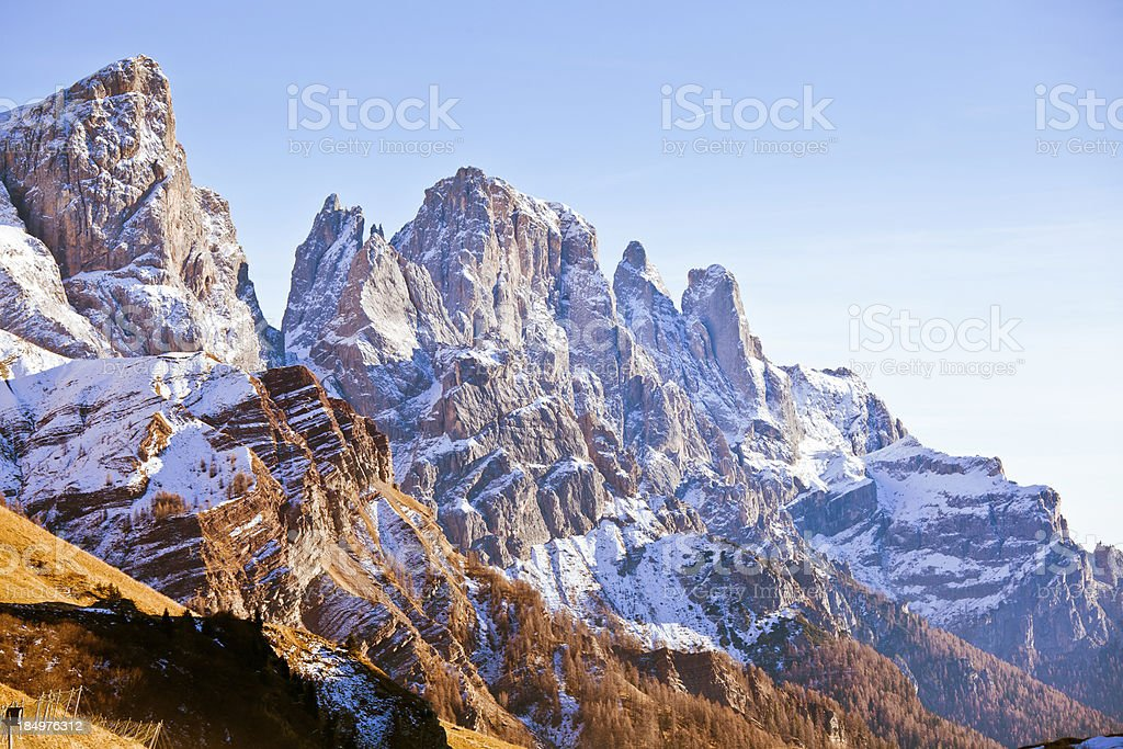 Majestic Mountain Winter Landscape in the Dolomites stock photo