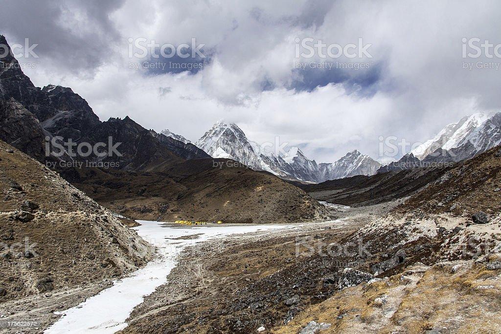Majestic mountains of Khumbu, Everest Base Camp trail royalty-free stock photo