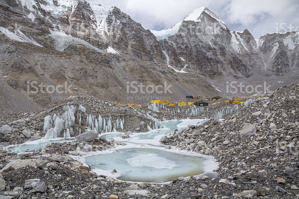 Majestic mountains of Nepal's Khumbu region surround Everest Base camp stock photo