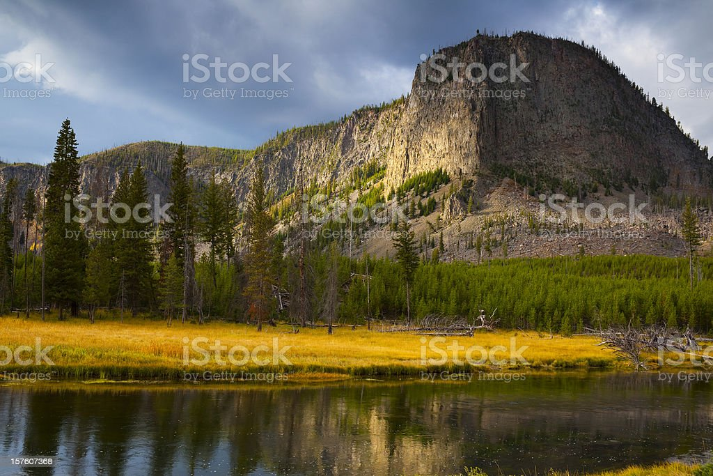 Majestic Mt Hayden in Yellowstone National Park; American West stock photo