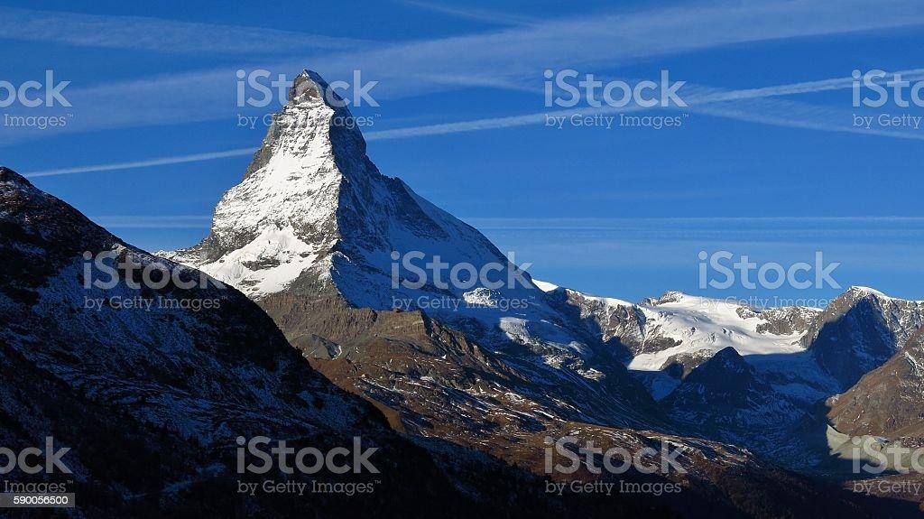 Majestic Mt Matterhorn in autumn stock photo