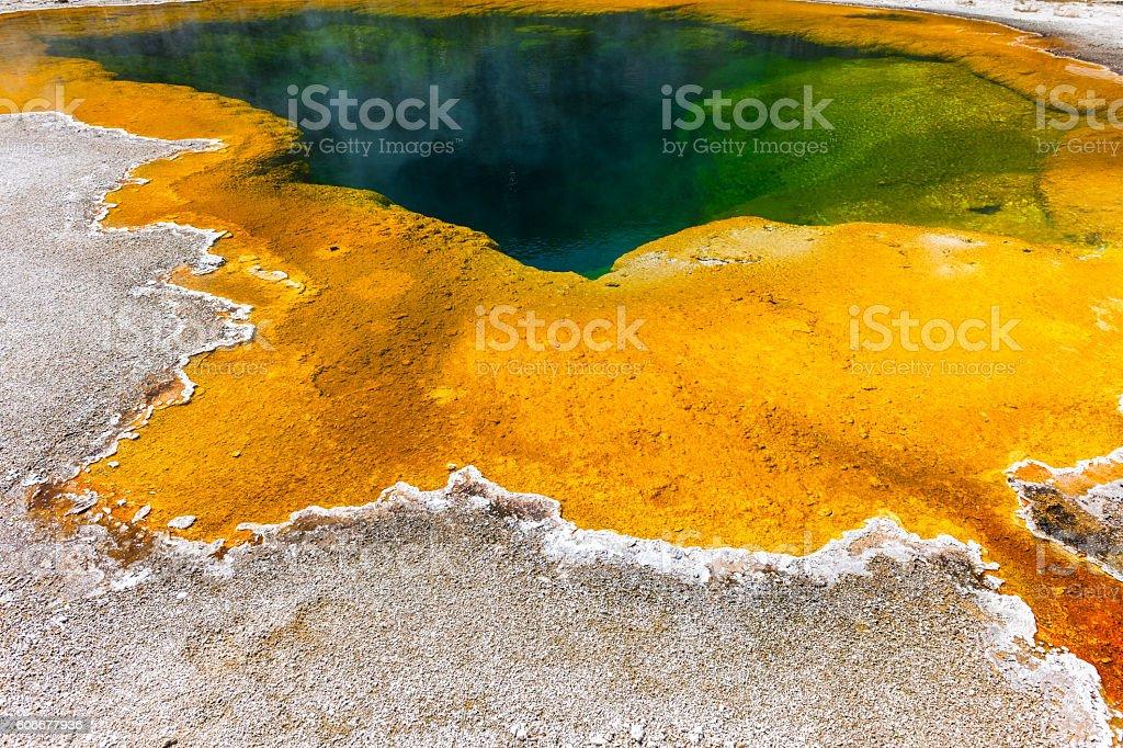 Majestic Multi Colored Pool in Yellowstone Wyoming USA stock photo