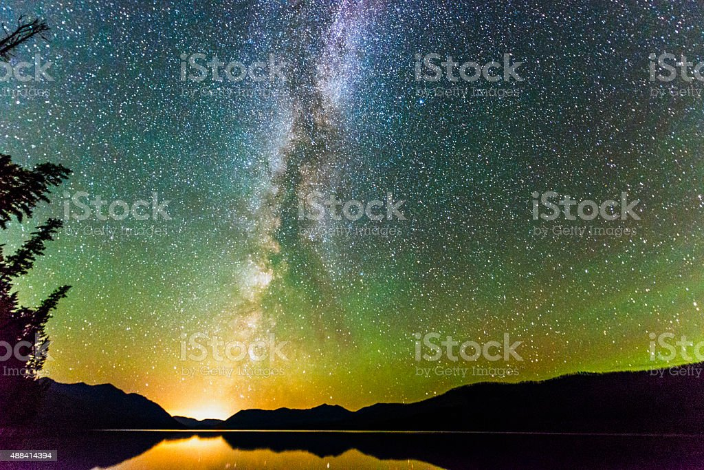 Majestic Night Sky Illuminated with Stars and Milky Way Landscape stock photo
