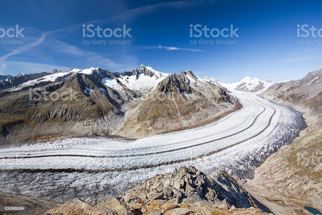 Majestic panorama view to Aletsch glacier in Swiss Alps stock photo
