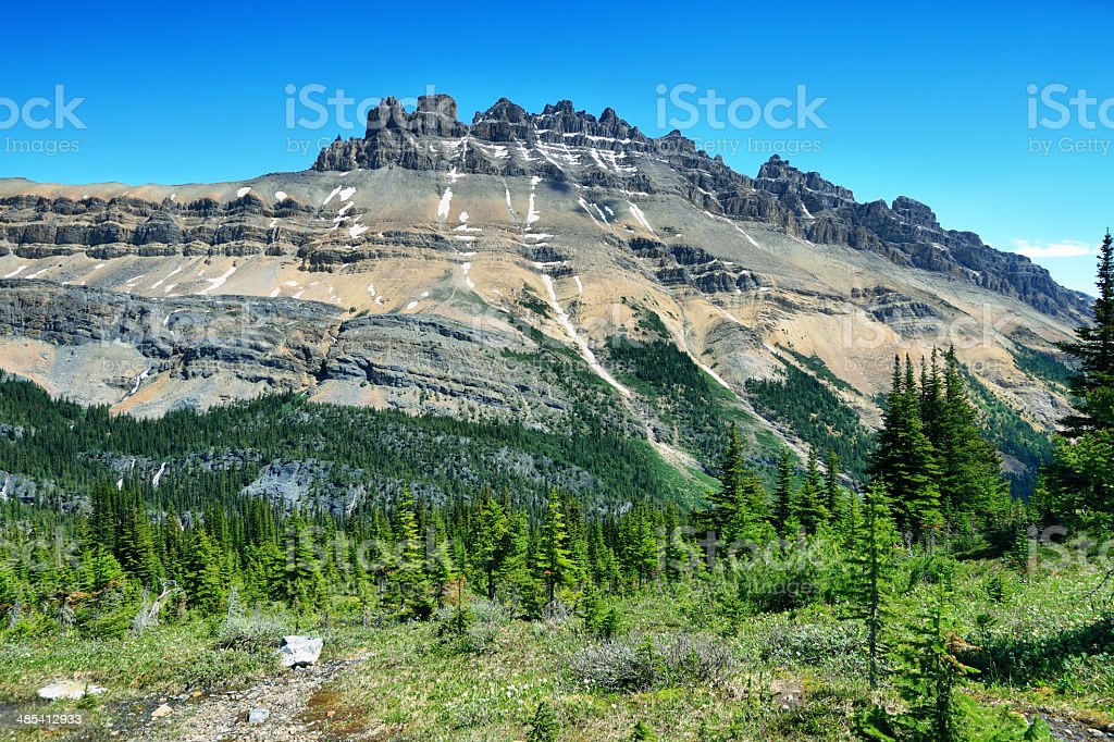 Majestic peaks in Helen lake trail stock photo