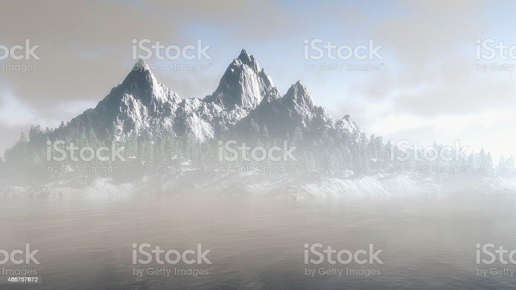 Majestic rugged mountain range in winter stock photo