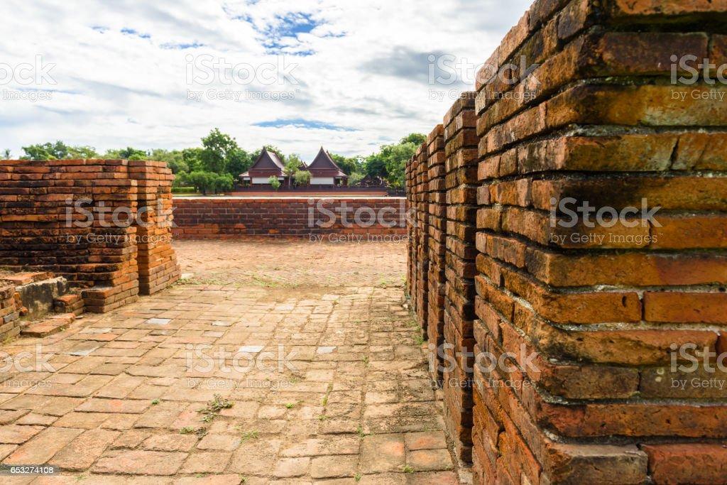 Majestic ruins of 1629 Wat Chai Watthanaram built by King Prasat Tong with its principal Prang (center) representing Mount Meru, the abode of the gods stock photo